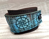 Leather Cuff Unisex Wrap, Compass Digital Photo Print on 100% Genuine Leather