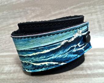 Leather Cuff Women's Bracelet Wrap, Ocean Blues Digital Print on 100% Genuine Leather