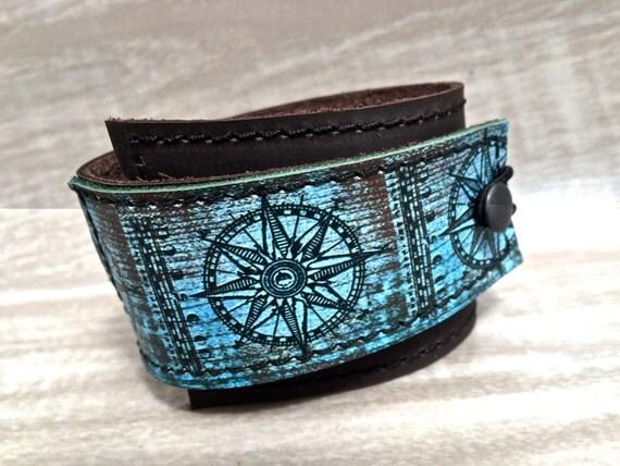 Leather Cuff Unisex Wrap, Compass Digital Photo Print on 100% Genuine Leather