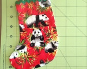 Panda on Red Christmas Tree Ornament #1