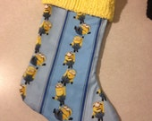 Despicable Me Minions and Chenille Handmade Christmas Stocking FREE U S SHIPPING