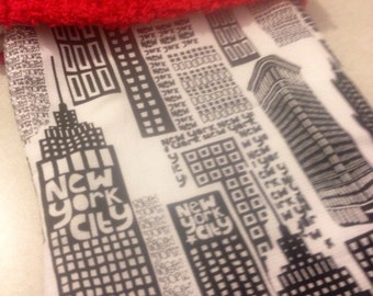 New York City Skyline and Chenille Handmade Christmas Stocking with FREE US SHIPPING
