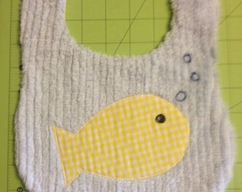 Sweet Yellow and Blue Fishy Baby Bib with Gingham and Chenille