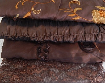 Dark brown fabrics,  embroidered fabrics, floral fabrics,  see listing for sizes