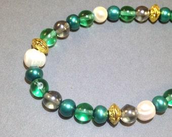 Green & White Pearl Bracelet - Beaded Glass Bracelet - Freshwater Pearls -Statement Bracelet - Boho Chic - Hippie Jewelry - Gift For Her