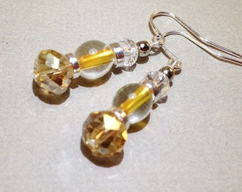 Yellow Glass Earrings - AB Czech Glass Crystal - Quartz Earrings - Silver Earrings - Gemstone Jewelry - Pierced Earrings - Gift For Her