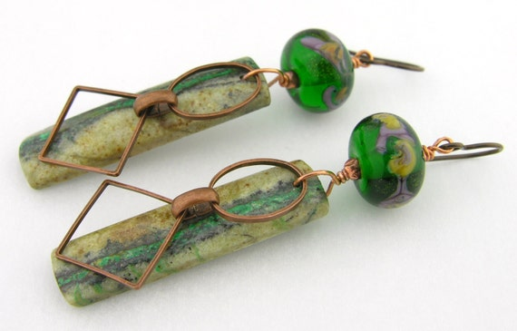 Green malachite lavendar lampwork copper earrings - handmade artisan lampwork cserpentDesigns beige bone black yellow
