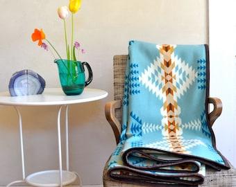 Wool Blanket Native American Design in Aqua Blue Taupe White