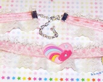 Pink Kawaii Rainbow Heart Lace Choker Necklace