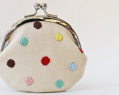 Coin purse polka dots kiss lock coin purse change purse multicolor hand embroidery embroidered red pink mint green blue yellow candy rainbow