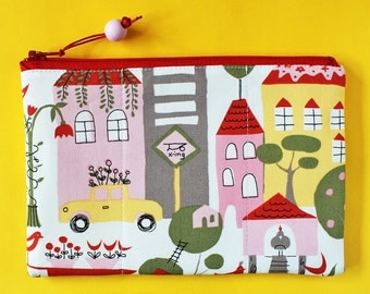 Zipper pouch retro city in pink - New York City yellow cab houses street yellow pink green red makeup bag padded pouch