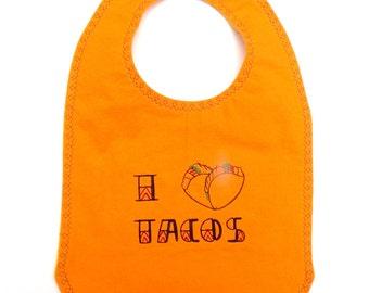 I Heart Tacos Foodie Baby Bib - Taco Baby Bib -  Foodie Baby Bib - Funny Baby Gift - I Love Tacos Gift- Baby Chef Bib - Foodie Gift - Orange