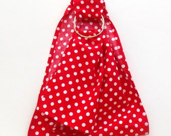 Doll Ring Sling - Doll Carrier - Waldorf Doll Toy - Baby Doll Sling - Doll Ring Sling - Doll Slings - Dolly Ring Sling - Red White Polka Dot