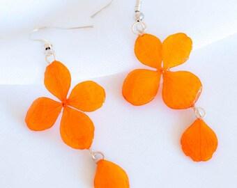 hydrangea real flower earrings preserved in resin