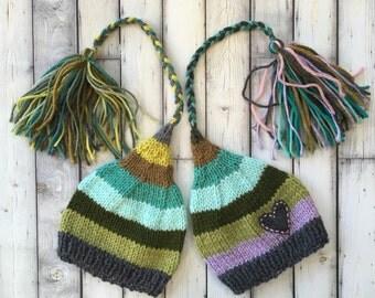 Newborn Boy Girl TWiN Hats BaBY PHoTO PRoPs Grey Green Mint Mauve Stripe FCN Stocking Caps Heart TAiL TaSSeL BeANiES Coordinating Toque RTS