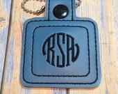 Personilized Monogram Key Fob Bag Tag Circle