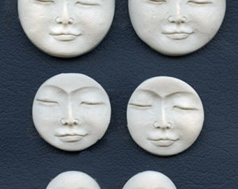 Lot of 6 White Faux Bone Polymer White Moon Cabs Undrilled MNLT 6