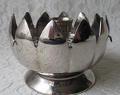Vintage Lotus Flower Silverplate Candle Holder with Flower Frog Centerpiece Wedding Holidays
