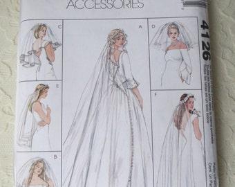 McCalls 4126 Wedding Bridal Veils, Blusher Veil, Wreath Veil 6 Style Variations All Sizes OOP