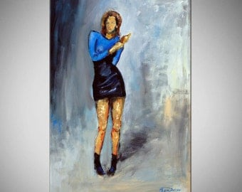 ORIGINAL Vouge Painting Blue Dress - Woman Runway Dress Portrait Oil Painting - VOGUE - 30x20 BenWill