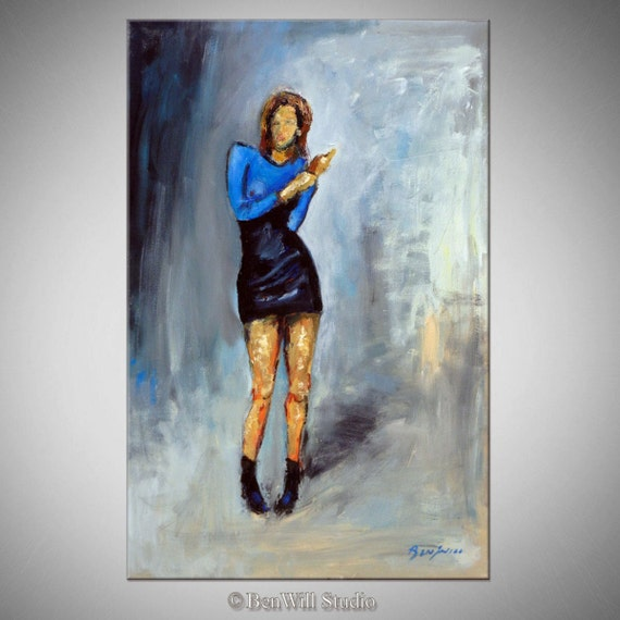ORIGINAL Vouge Painting Blue Dress - Woman Runway Dress Portrait Oil Painting - VOGUE - 30x20 BenWill