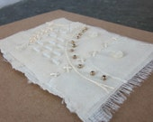White Gold Stitched Beaded Silk Greetings Card