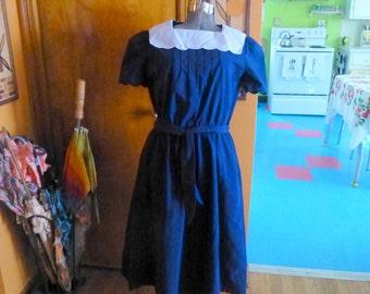 60s Vintage Navy White Sweetheart Day Dress Lg