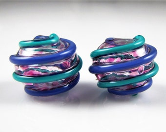 Glass Hollow Wrap Pair of Lampwork Beads