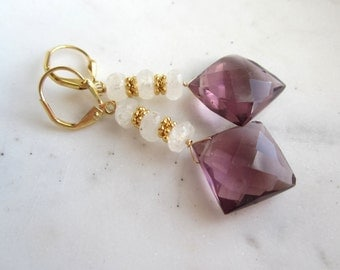 Plum Quartz and Moonstone Earrings, Gemstone Dangle Earrings, Purple Quartz Earrings,