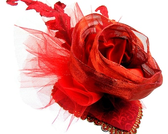 """Red FASCINATOR """"Rosie"""" Red teardrop base with Large Ribbon Rose, netting, Red Sparkle Leaves, Hairclip, Fantasy Adornment, Dress, Burlesque"""
