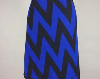 "Snap Around Skirt. ""Classic Blue Chevron"""
