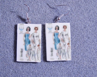 Retro Kitsch Sewing Pattern Wedding Dress Gown 1960s Dangle Polymer Clay Earrings 4218