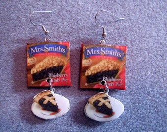 Mrs. Smith's Blueberry Crumb Pie Thanksgiving Kitsch Dangle Junk Food Polymer Clay Earrings Hypo Allergenic Nickle-Free