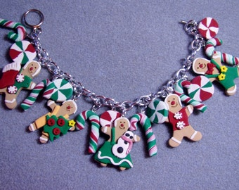 Chunky Gingerbread Men Cookies Starlight Mints Candy Canes Polymer Clay Charm Bracelet Christmas Holiday Winter LG1