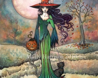 Valley Moon - Original Watercolor and Mixed Media Painting by Molly Harrison - Witch Cat Halloween Fantasy Wiccan Wicca