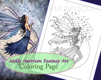 Midnight Blue - Digital Stamp - Printable - Moon Fairy Art - Molly Harrison Fantasy Art - Digistamp Coloring Page - Digi Stamp