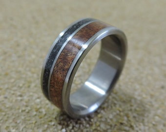 Titanium Ring, Meteorite Ring, Wood Ring, Mesquite Ring, Mens Ring, Womens Ring, Wedding Band, Handmade Ring, Engraved Ring, Personalized