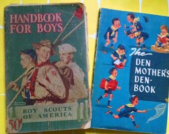 Vintage Boy Scout Guides - Handbook for Boys and Den Mother's Denbook