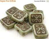 25% OFF Summer Sale Czech Picasso Beads - Antique Green Picasso Rectangle Beads - 12mm 10 Beads