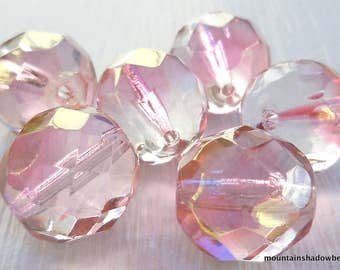 12mm Beads - Faceted Round Beads - Rose Bronze Luster -  Czech Glass Beads - Fire Polished Faceted - 6 pc (GG - 8)