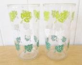 2 vintage ivy glasses