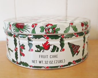 vintage Christmas fruit cake tin