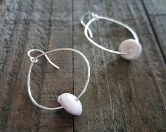 Puka Shell and Sterling Silver Teardrop Hoop Earrings