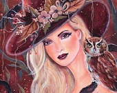 Gretchen woodland witch with birds print   by Renee L. Lavoie