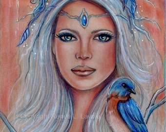 Blue bird fantasy portrait floral print by Renee L. Lavoie