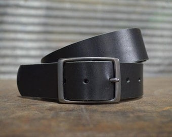 Premium Black Leather Belt by Fosterweld