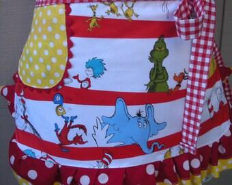 Dr. Seuss Aprons - Annies Attic Aprons - Half Aprons - The Cat in the Hat Aprons - Dr. Seuss - 1957 - Teachers Gifts - Robert Kaufman Fabric