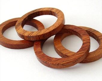 Bayong Wood Flat Circle Rings 35mm, drilled 1 hole, set of 4