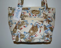 Quilted Fabric Handbag Purse with Beautiful Blue Crabs