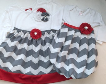 SISTER OUTFITS...baby gown and matching  sister outfit.. in grey chevron and red accents- holiday Christamas wear